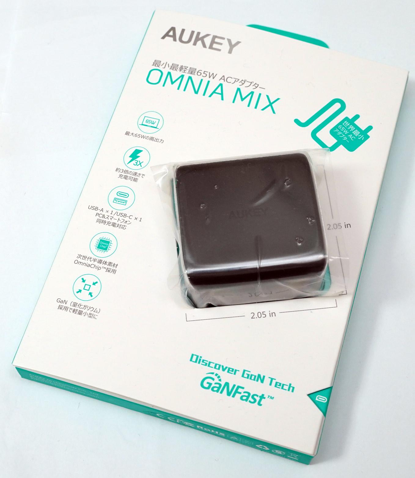 【レビュー】噂のGaN搭載、AukeyのOmniaブランド、USB-C充電器65W出力を買ってみた。PCアダプタを置き換え可能。