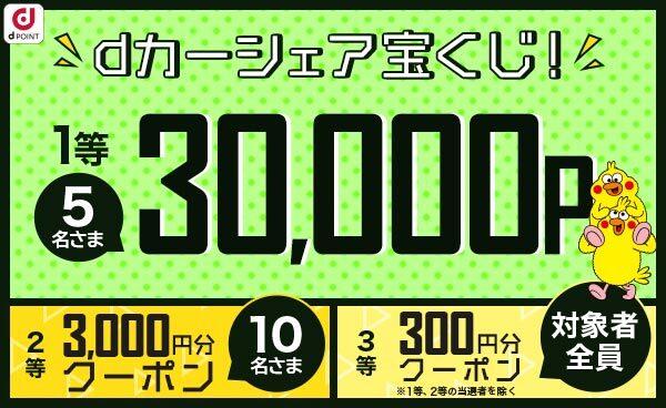 dカーシェアで300円分クーポンがもれなく貰える。~5/31。