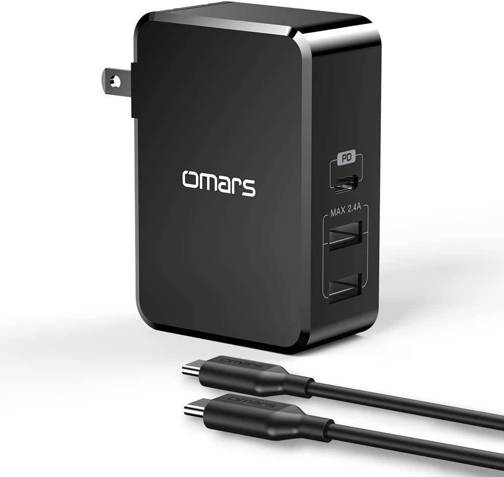 アマゾンでOmars USB C PD充電器45W充電器 3ポートが2重割引。