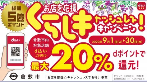 d払いで岡山県倉敷市限定、20%還元を実施予定。9/1~9/30。