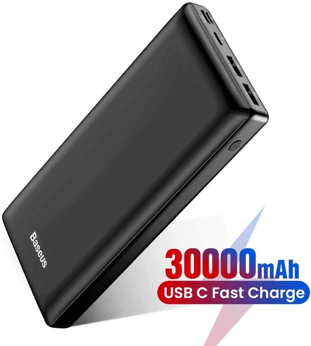 アマゾンでBaseus 大容量 モバイルバッテリー 30000mAh PD対応 最大15W が割引クーポンをセール中。ノートPCの充電は(ほぼ)できない。