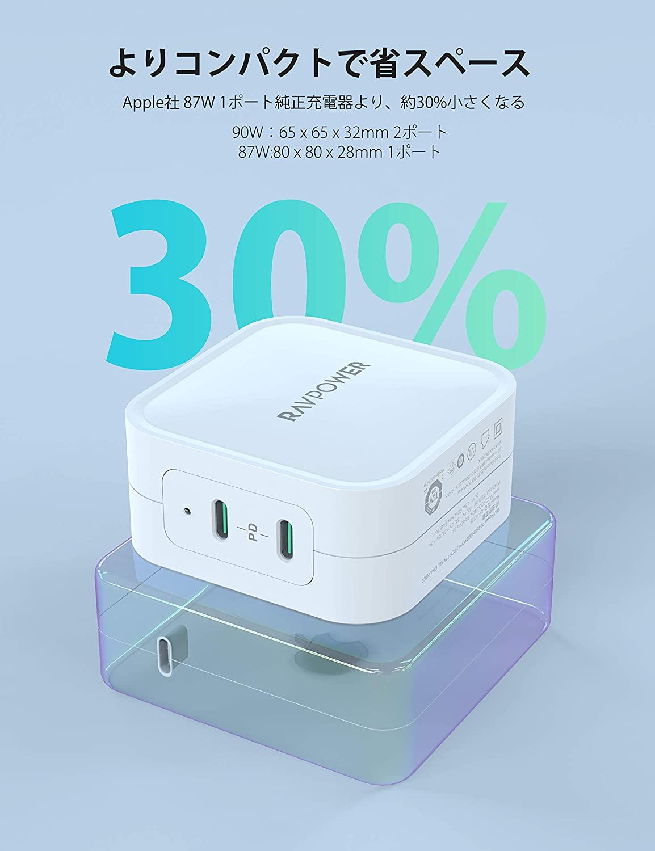 アマゾンで RAVPower PD対応 充電器 90W 2ポートUSB-C×2 の割引クーポンを配信中。