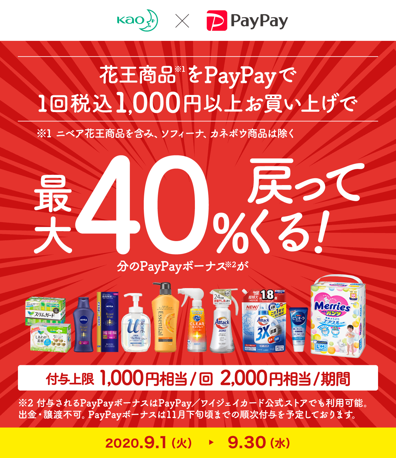 花王製品をドラッグストアでPayPayで1回1000円以上買うと最大40%バック、12/1~12/31。ニベア含む、ソフィーナ、カネボウ除く。