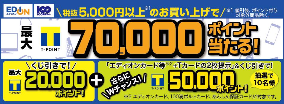 エディオンで5000円以上買うと最大7万ポイントが当たる。多分当たらない。~8/31。