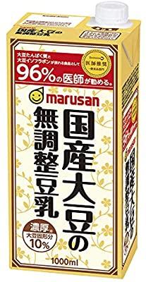 アマゾンで「マルサン 国産大豆の無調整豆乳 1000ml ×6本」が激安1本142円。なかなかスーパーにはないコスパ。