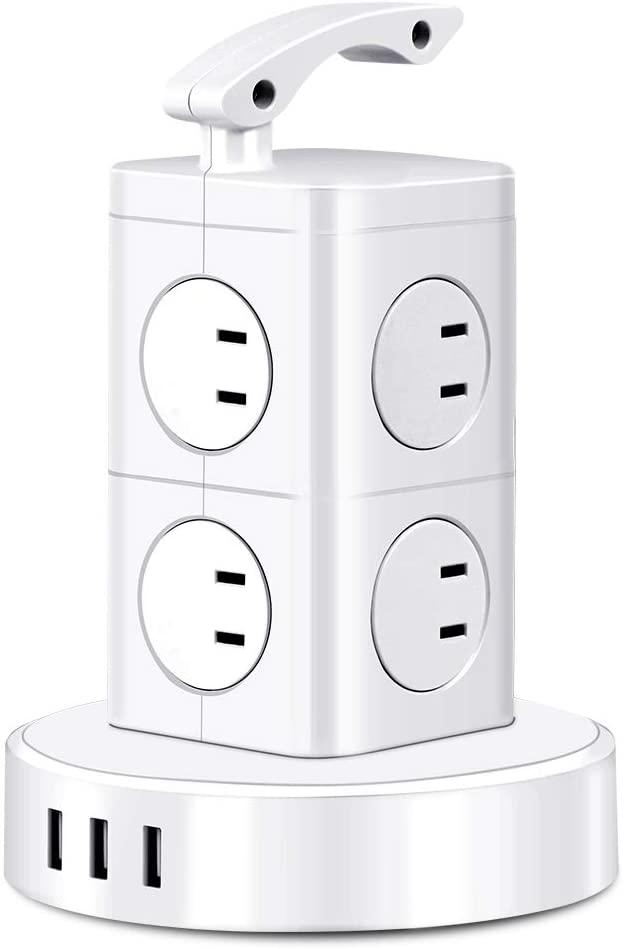 アマゾンでBEVA 電源タップ タワー式電源タップ 3個USB付き 8AC口が4割引クーポンを配信中。スマホ充電に向いてないけどね。
