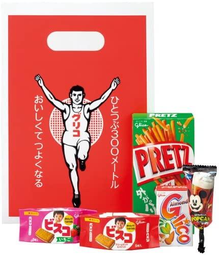 アマゾンで江崎グリコ グリコ袋 (菓子5品封入) お菓子詰め合わせ ×10袋が半額。