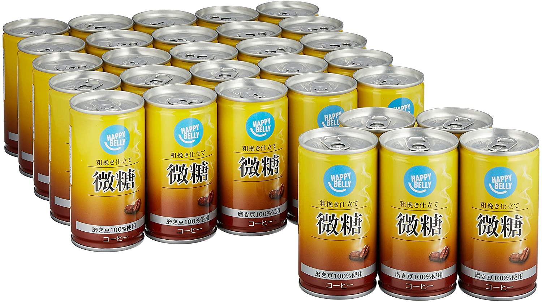 【1本27円、草】アマゾンでHappyBelly 微糖コーヒー缶 185g ×30本の割引クーポンを配信中。