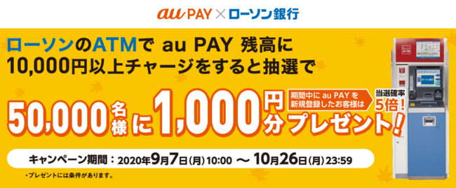 auPAYにローソン銀行ATMから1万円以上チャージすると1000円相当が当たる。~10/26。