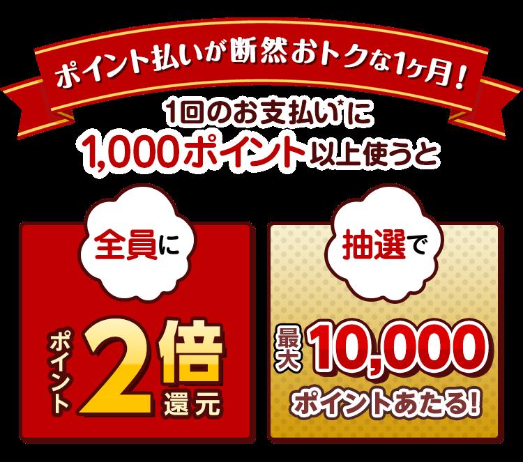 楽天Payで1000ポイント以上使って決済するともれなくポイント2倍、抽選で100名に1万本が当たる。~11/12 10時。