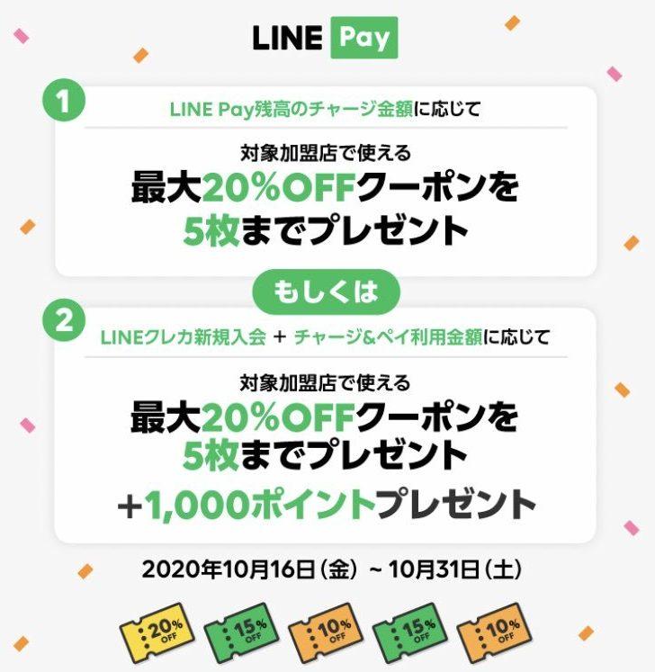 【対象者限定】LINE Payに最大5万円チャージすると加盟店で使える最大20%OFFクーポンが5枚貰える。残高は飲み会の割り勘で友人に投げつけろ。~10/31。