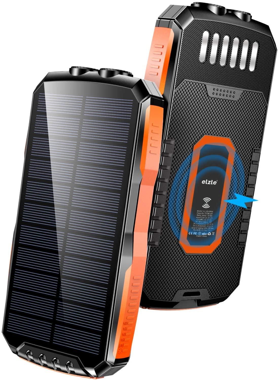アマゾンでelzle  25000mAh モバイルバッテリー ソーラーチャージャー付きがセール中。