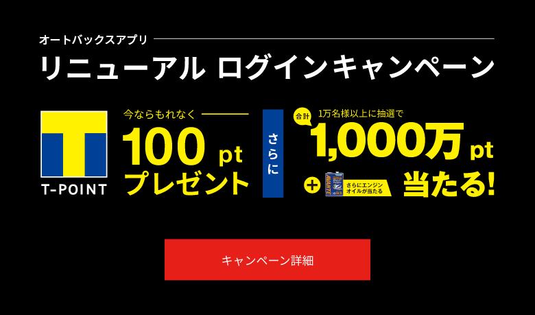 オートバックスでなにか買うと100Tポイント、抽選で500ポイントが1万名に当たる。~1/31。