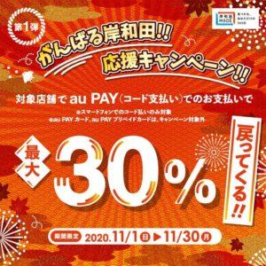 岸和田市でauPAY払いで最大30%バック。~11/30。