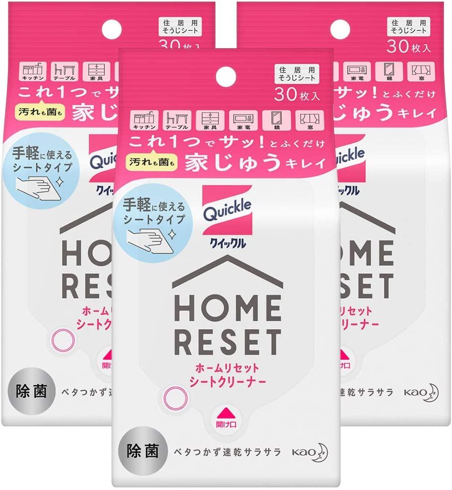 アマゾンで除菌シートのクイックルホームリセット シートクリーナー30枚入×3個が2割引。