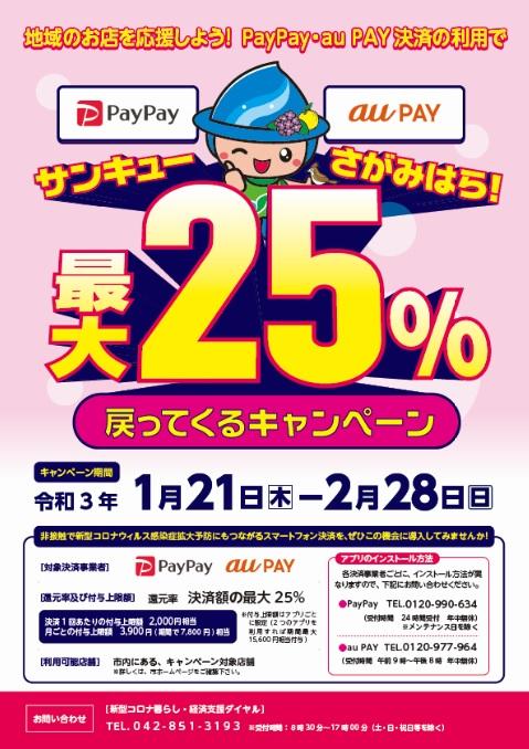 神奈川県相模原市でPayPay・auPAYで25%バック。~2/28。