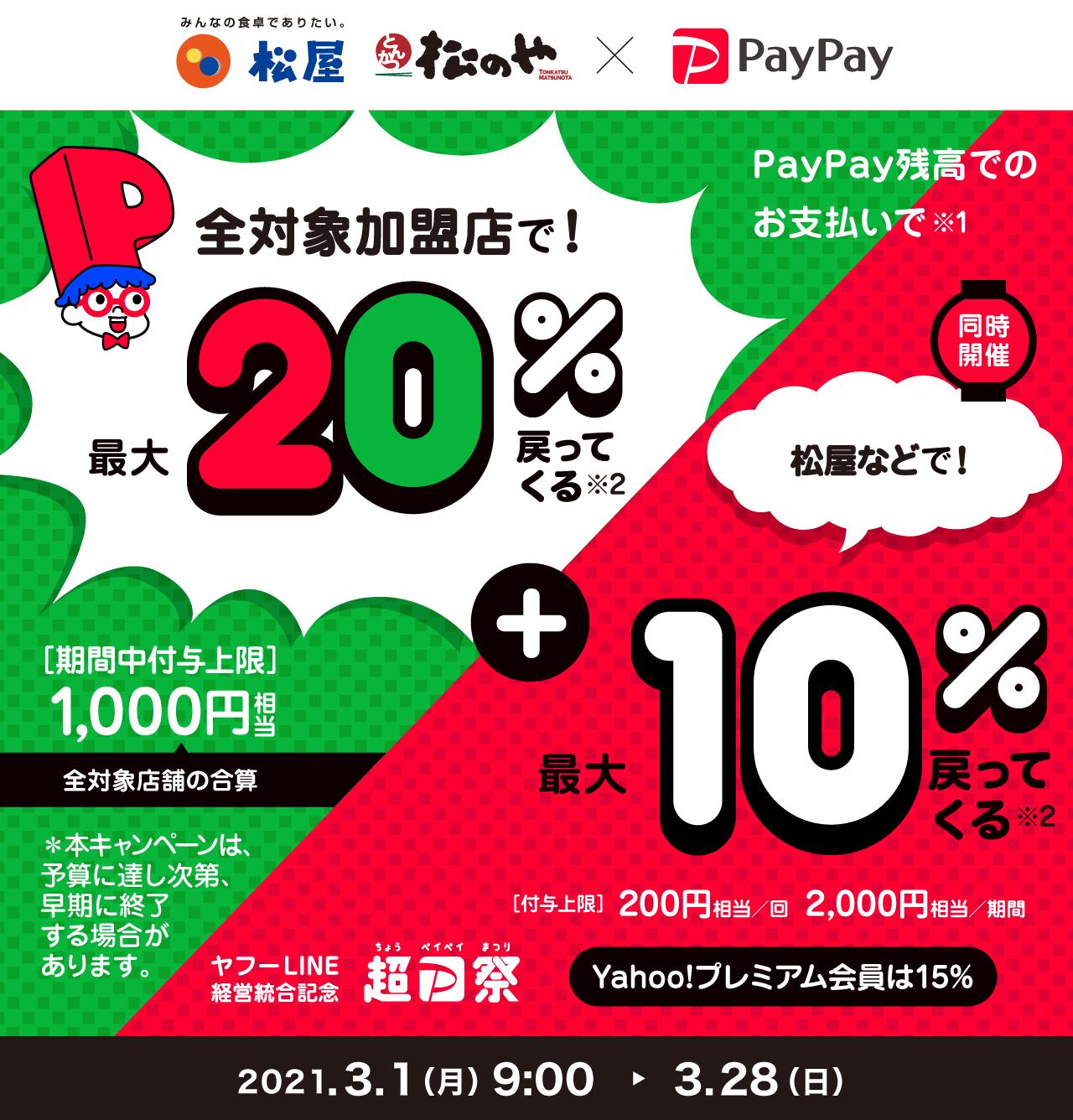 PayPayで吉野家20%+100Tポイントバック。松屋は30%バック。吉野家は1回だけ実質200円ちょいで牛丼が食べられる。~3/28。