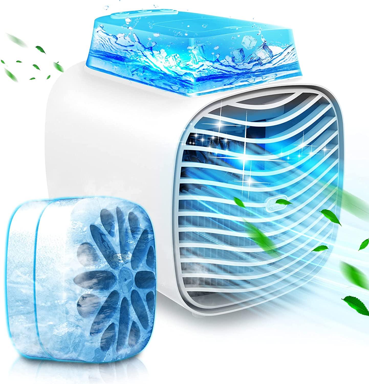 アマゾンで中に氷を入れて風を送る卓上冷風機が半額。昭和の日本みたい。