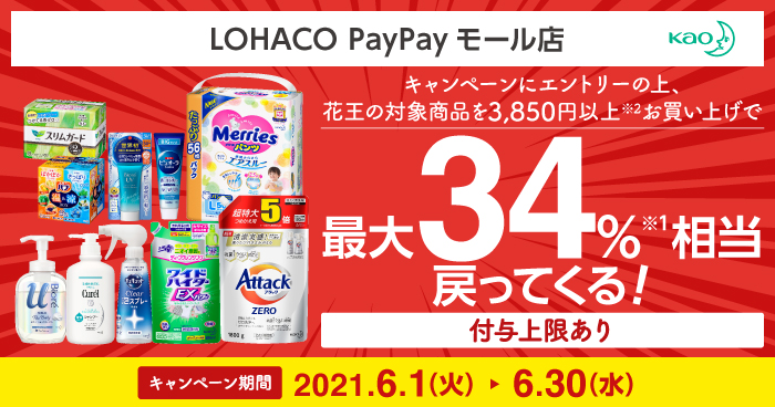 LOHACO PayPayモール店で花王を買うと最大34%PayPayバック。~6/30。
