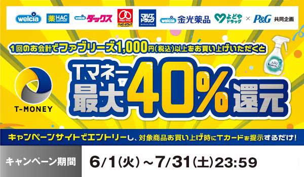 ウエルシアでファブリーズを買うと最大40%Tマネーバック。キャンペーン併用で半額バック行けるかも。~7/31。