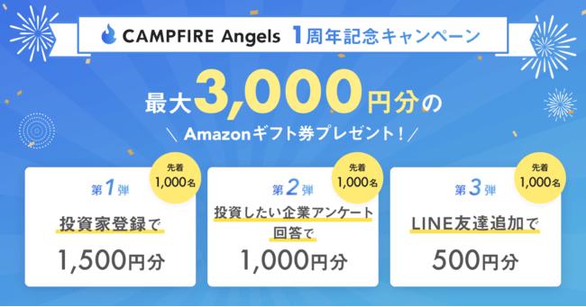 株式投資型クラウドファンディングのCAMPFIRE Angelsで投資家登録&アンケートで最大3000円分のアマゾンギフト券が先着3000名にもらえる。~8/31。