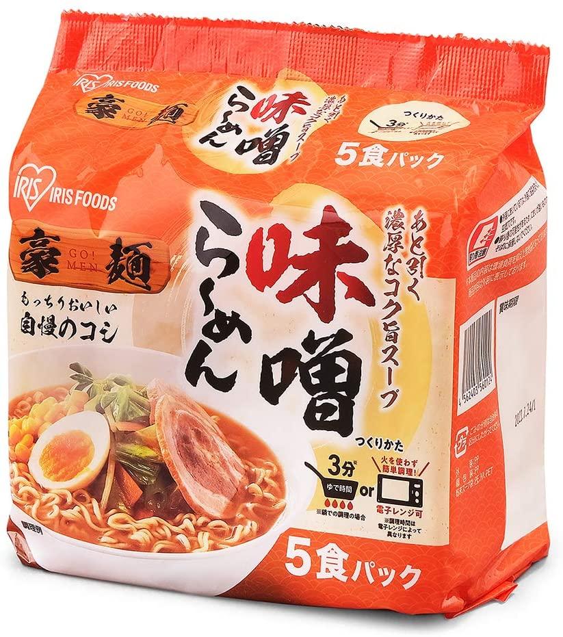 アマゾンでアイリスオーヤマ 豪麺 味噌らーめん 30食セット 5食 ×6袋が3割引。