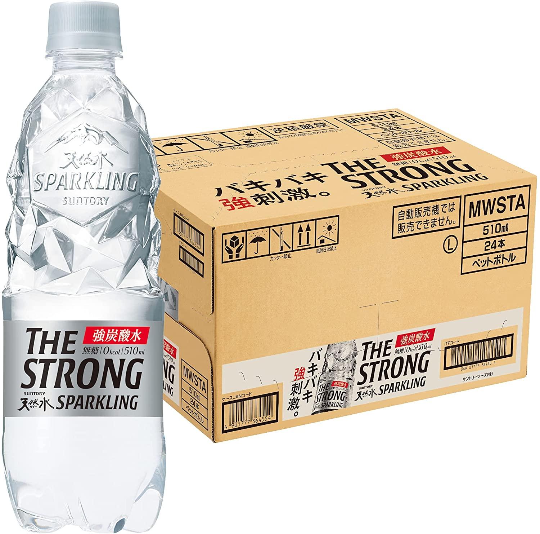 アマゾンでサントリー THE STRONG 天然水スパークリング 炭酸水 510ml ×24本が3割引。