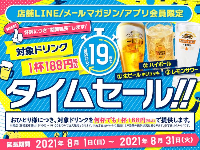 白木屋や魚民で生ビール・ハイボール・レモンサワーが19時まで何杯でも188円税込みセール。~8/31。