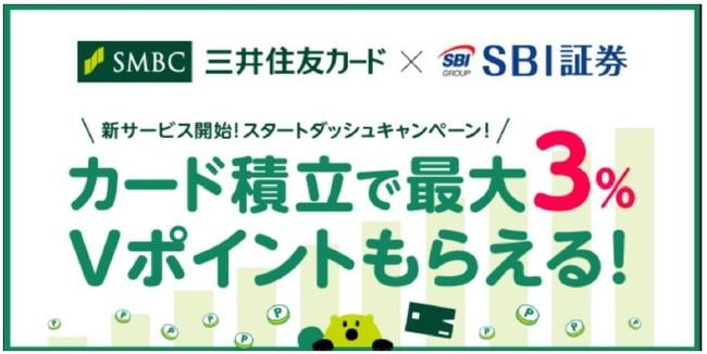 SBI証券で三井住友カードでクレカ積立するとVポイントが1.5%~3%貰えるキャンペーンを開催中。~12/10。