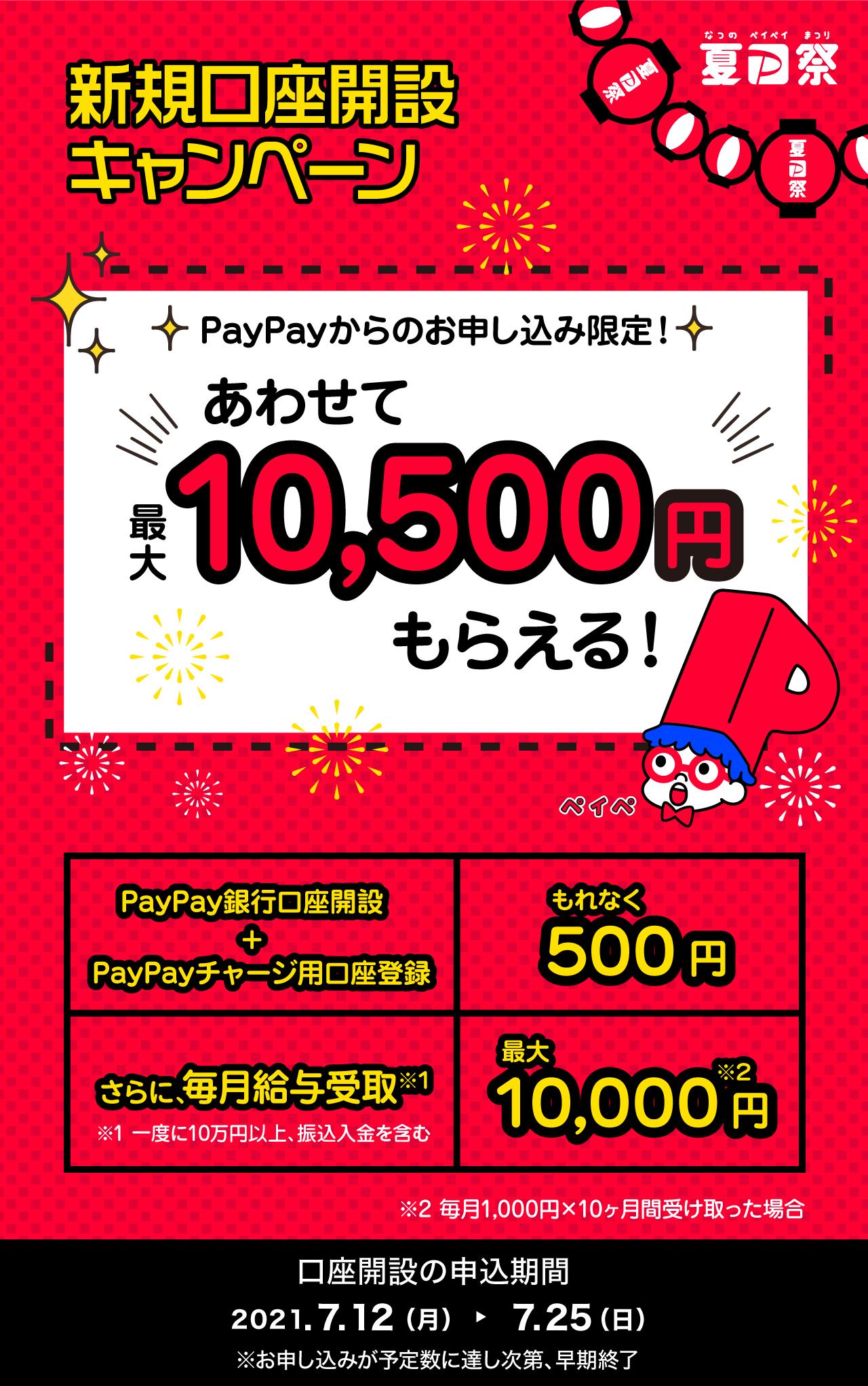 PayPay銀行新規開設で500円、給料を受け取ると最大1万円が貰える。そのうち手取りがPayPayになりそう。~7/25。