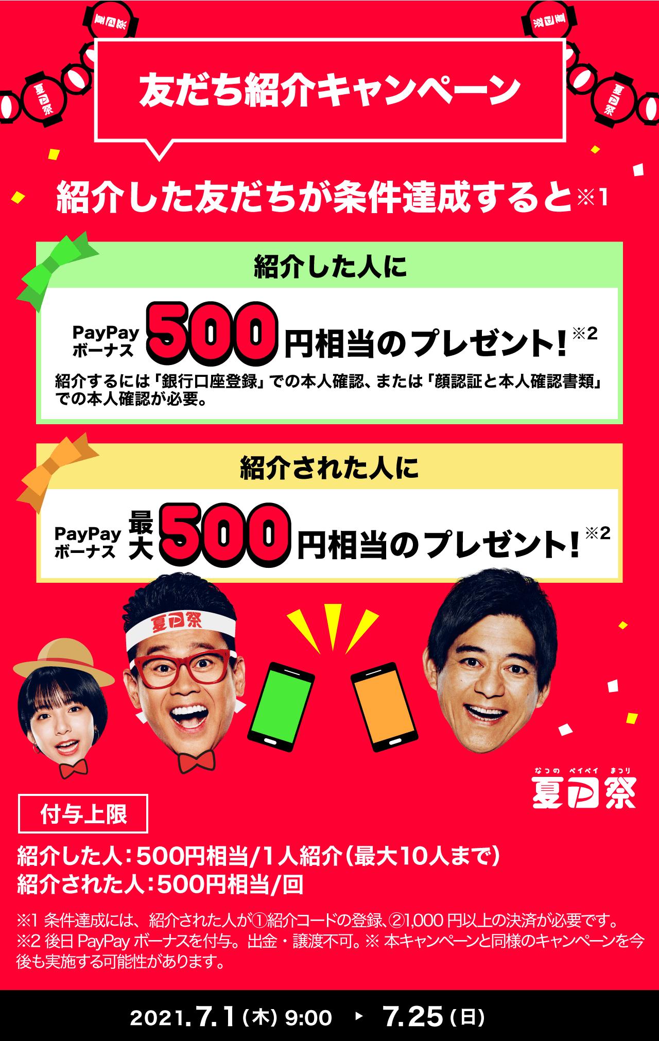 PayPayで友達を紹介してもされても500円PayPayが貰える。招待した人限定でLINEポイントを25%増量交換可能。7/1~7/25。