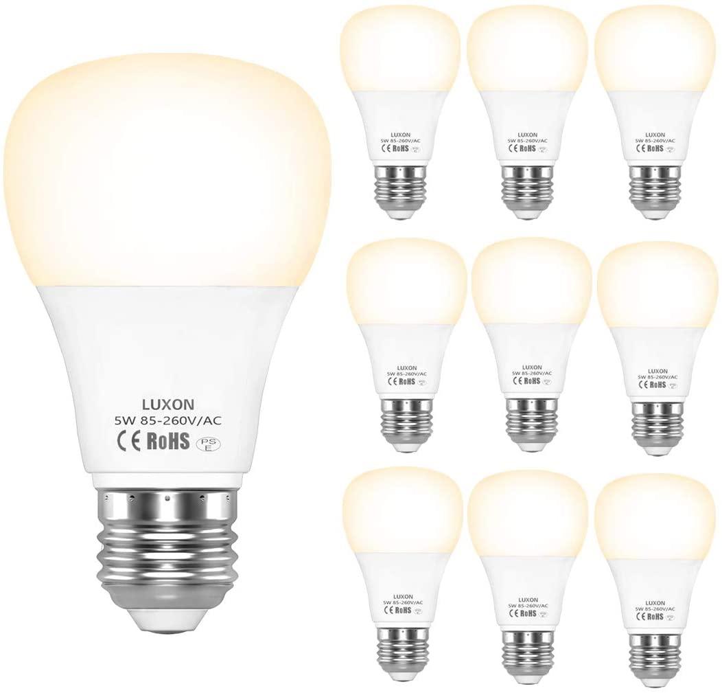 アマゾンで10個入りLED電球のL・XON 50w相当形 E26 が3899円⇒600円、1個60円。
