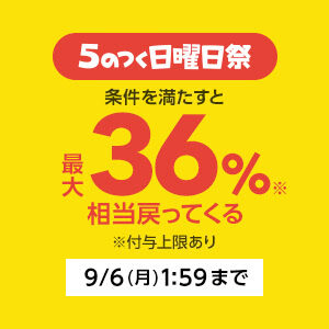 Yahoo!5のつく日曜日祭りでポイント最大36%バック中。今日は買え。ソフトバンクは解約しよう。