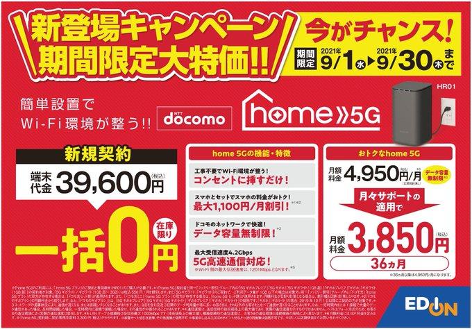 エディオンやヤマダでドコモhome5Gが本体一括0円でセール中。月額3850円の維持費へ。移動させては使えないけど。