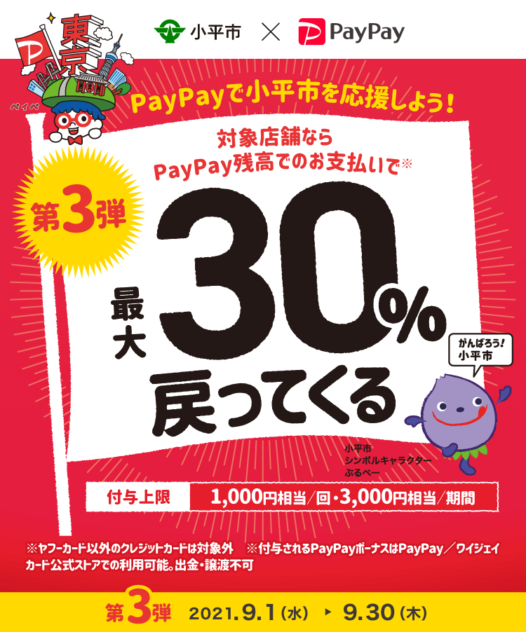 PayPayで東京都小平市が30%バック。上限低すぎやる気なさすぎ。9/1~9/30。
