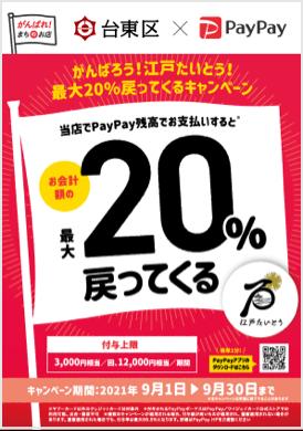 PayPayで東京都台東区が20%バック。浅草も対象へ。