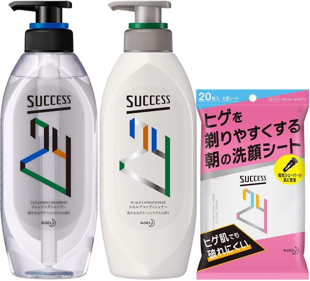 アマゾンでヒゲを剃りやすくする朝の洗顔シート+サクセス 24が3割引。